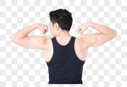 健身男性人像肌肉展示背影图片