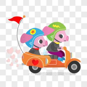 开车回家过节的小猪们图片