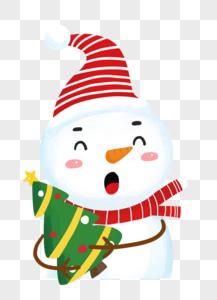 雪人抱着圣诞树图片