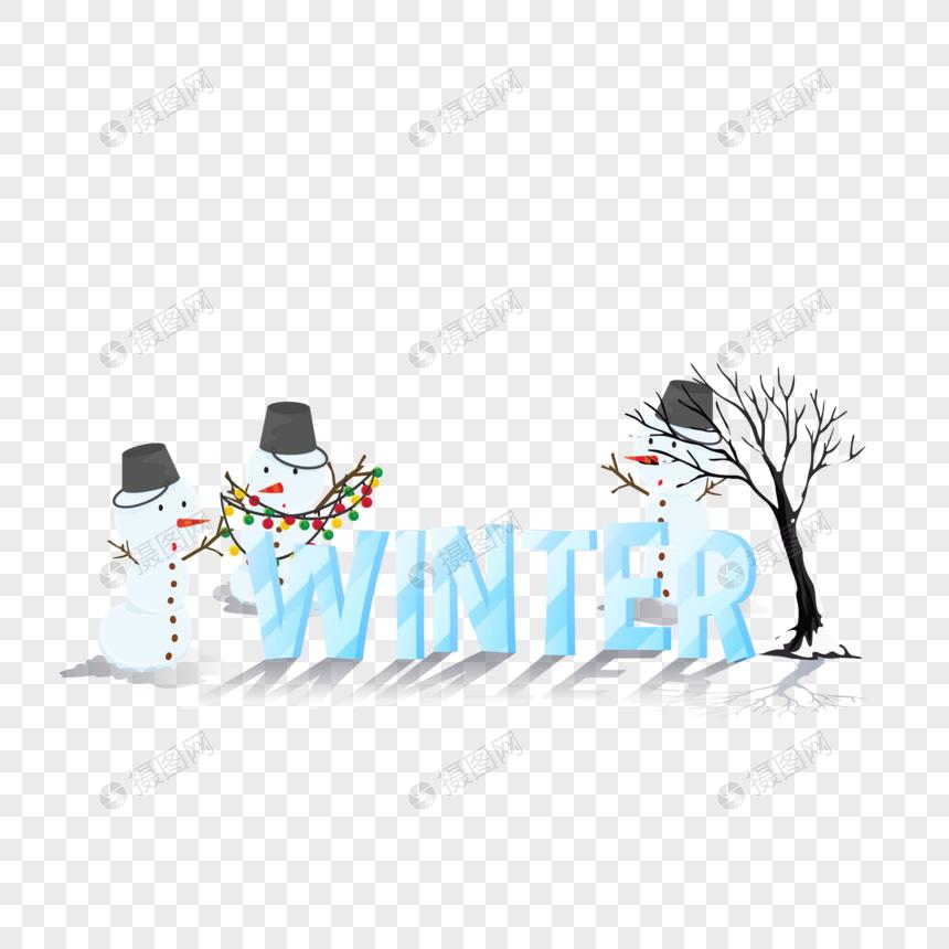 圣诞节冬天雪人图片