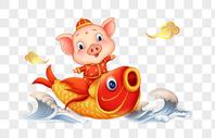 坐着鲤鱼的猪图片