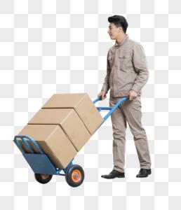 仓库管理员推车搬运箱子图片