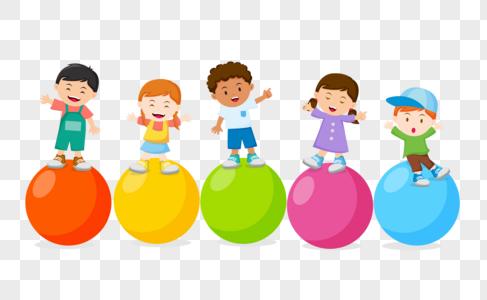 孩子们开心玩彩色球图片