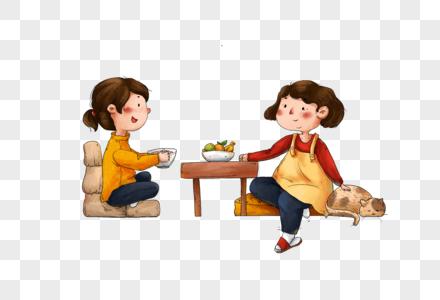 坐着吃饭的母女图片