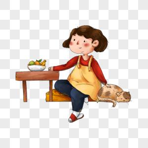 坐着吃饭的母亲图片