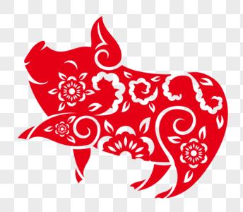剪纸风格猪图片