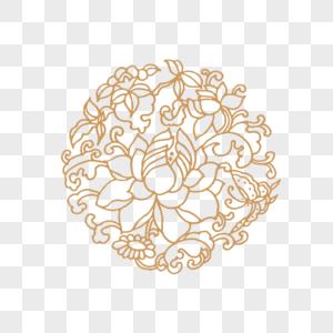 金色唯美花朵花纹矢量元素图片