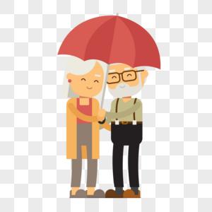 老人家伞下约会图片