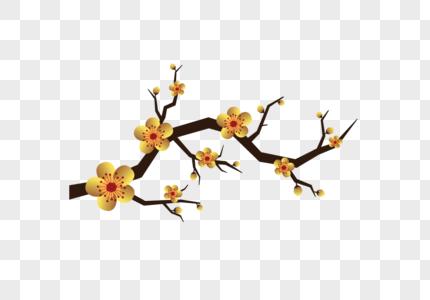 金色梅花绘画新年喜庆素材图片