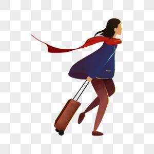 拉着行李箱的女人图片