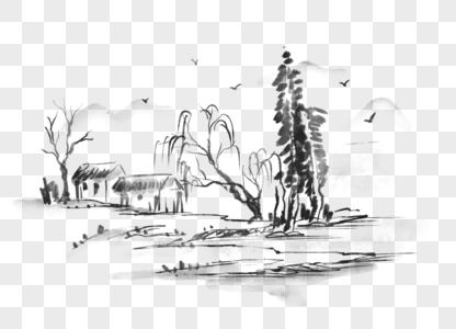 国画山水小景图片