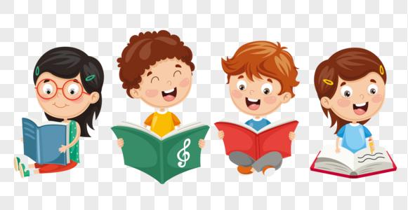 一起看书的孩子们图片