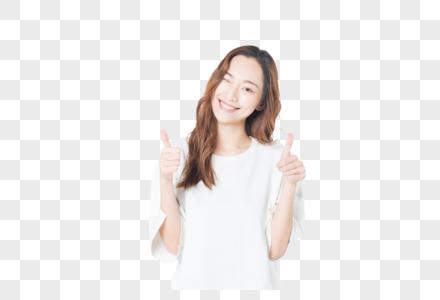 年轻活力女性举大拇指图片