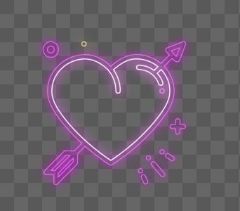 爱心箭霓虹灯风格设计图片