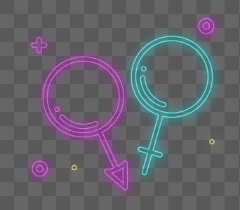 男女标志霓虹灯风格设计图片