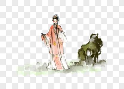 国画水墨京剧人物图片
