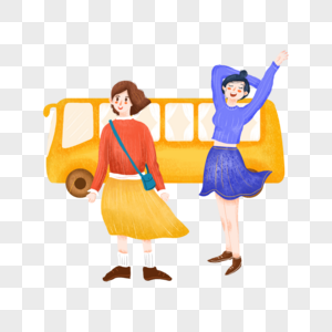 和中巴车合影的两个美女图片