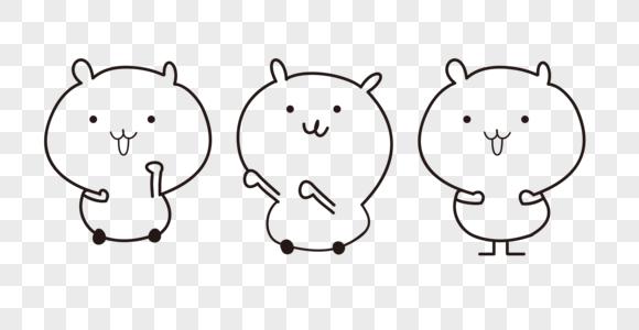 小熊可爱线条表情包图片