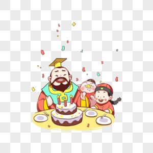 新年吃蛋糕的猪和孩子图片