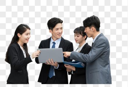 年轻商务白领户外团队合作图片
