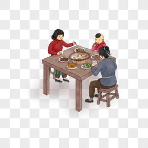 吃饭的一家人图片