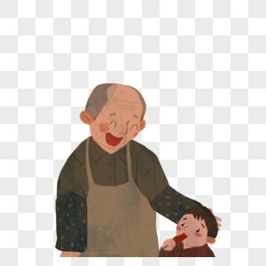 看着孙子吃糖葫芦的爷爷图片