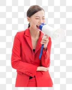 红西装女性喇叭促销图片