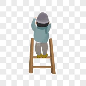 站在梯子上的男人图片