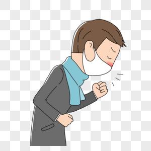戴着口罩咳嗽的男人图片