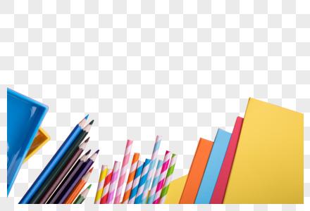 彩色吸管和铅笔加复印纸图片
