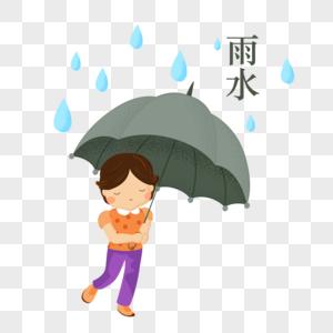 创意手绘雨水小节撑伞图片