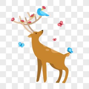 春天里的梅花鹿图片