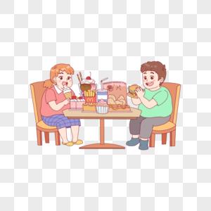 坐着吃汉堡的孩子图片