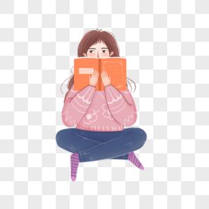 坐着抱着书的女孩图片