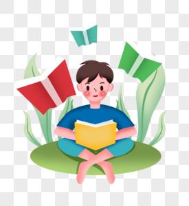 男生在草坪上读书图片