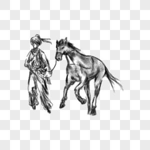 牵着马的男人图片