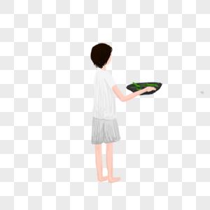 端菜的美女图片
