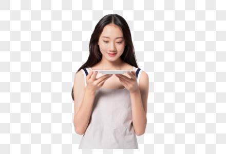 美女手端盘子图片