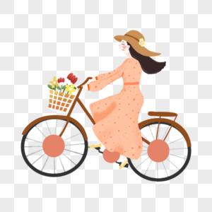 骑车郊游的女孩图片