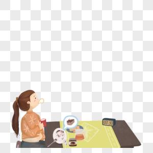 吃饭的女孩图片