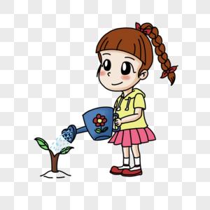 浇树的女孩图片