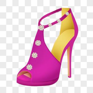 玫红女士高跟鞋图片