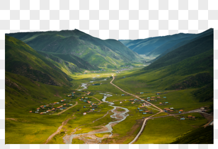 村庄高山图片