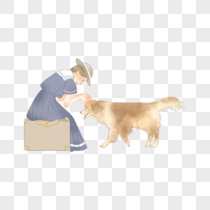 女孩和狗图片