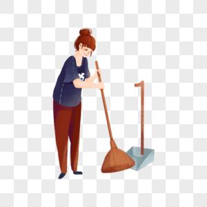 扫地的女人图片