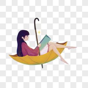 坐在雨伞中的女孩图片