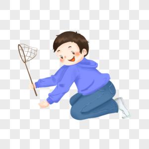 拿着渔网的男孩图片