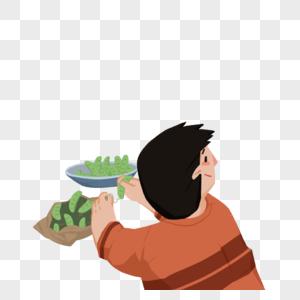 吃饭的男孩图片