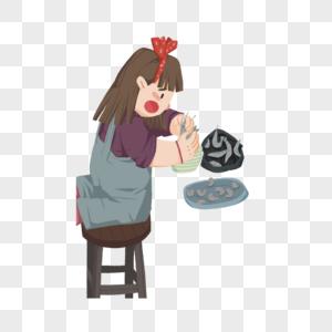 剥虾的女孩图片