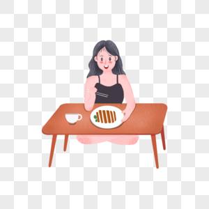 坐着吃饭的女孩图片